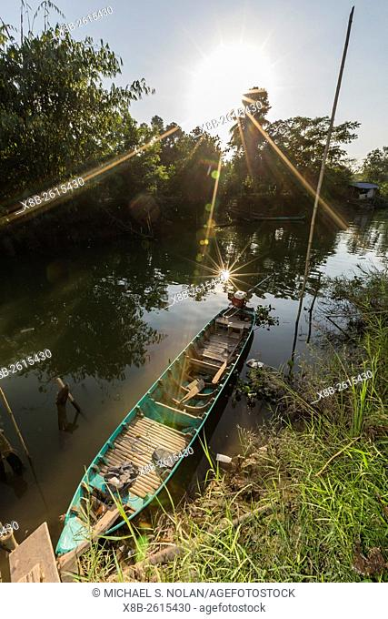 Motorized sampan along the river, My An Hung Village, Vietnam