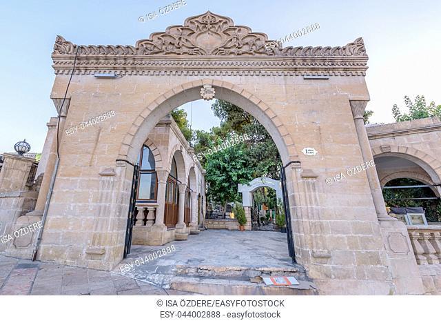 View of historical gate of Bediuzzaman cemetery in city center of Sanliurfa. Sanliurfa,Turkey. 19 July 2018
