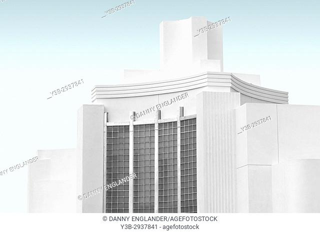 Surreal image of an Art Deco style historic building