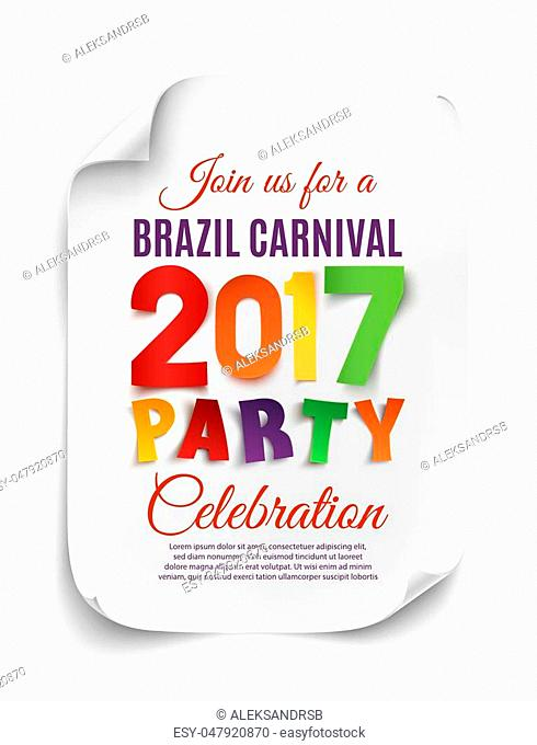 Brazil Carnival 2017 party poster template on white background. Vector illustration