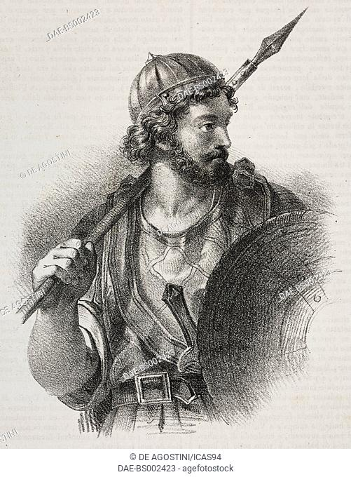 Portrait of Viriathus (180-139 BC), Lusitanian leader, lithograph by Giovanni Mariani from Poliorama Pittoresco, n 19, December 14, 1844