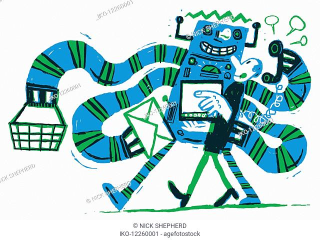 Robot persuading man to buy