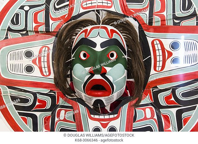 West coast First Nations art by artist Beau Dick, at the Audain Art Museum in Whistler, BC, Canada
