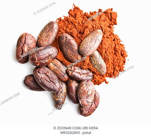 Tasty cocoa powder and beans isolated on white background