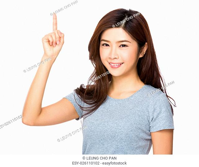 Asian Young Woman showing finger up
