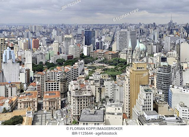 Aerial photo, view on the Cathedral da Sé and Praca da Sé square, Sao Paulo, Brazil, South America
