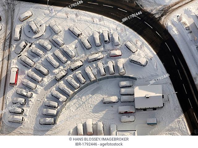Aerial view, car dealer, corner of Jahnstrasse street and Warsteiner Strasse street, snow, Meschede, North Rhine-Westphalia, Germany, Europe