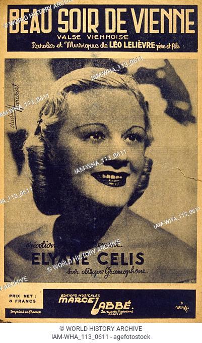 French songbook for 'Beau Soir de Vienne' sung by Elyane Celis, (1914 - 1962)