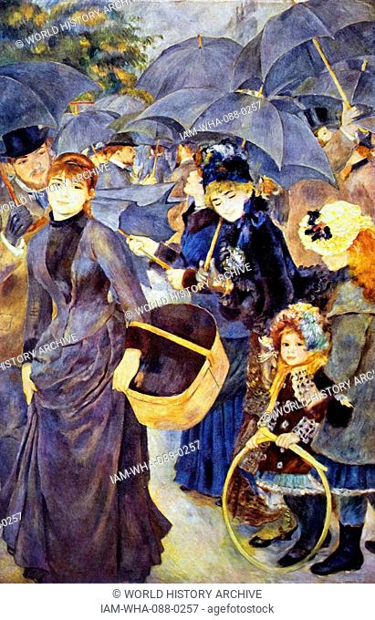 Painting titled 'The Umbrellas' by Pierre-Auguste Renoir (1841-1919) a French artist. Dated 19th Century