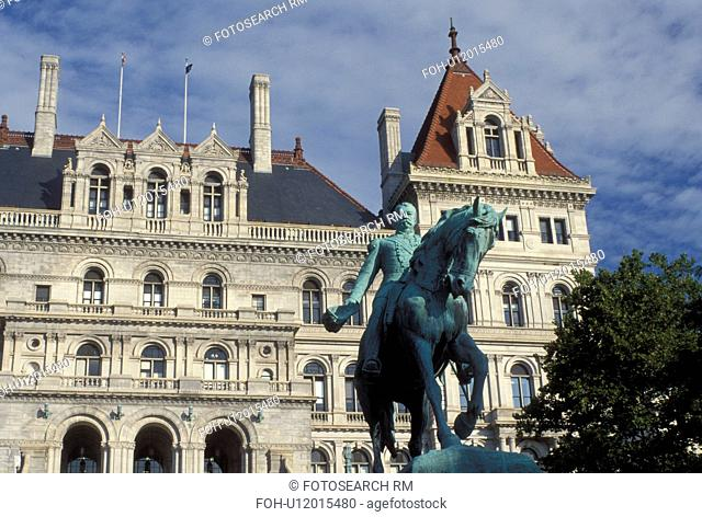 Albany, NY, State Capitol, State House, New York, Sheridan Equestrian Statue outside the New York State Capitol Building in the capital city of Albany