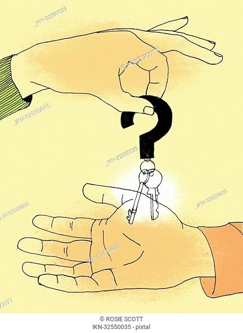 Handing over house key with question mark