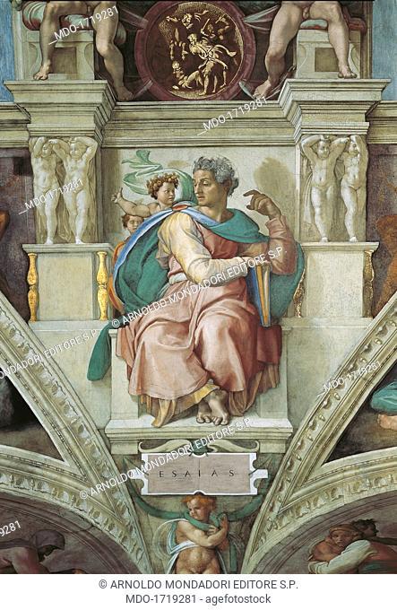 Sistine Chapel (Cappella Sistina), by Michelangelo Buonarroti, 16th Century, fresco. Vatican City, Vatican Museums. Detail of the vault, 1508 - 1512