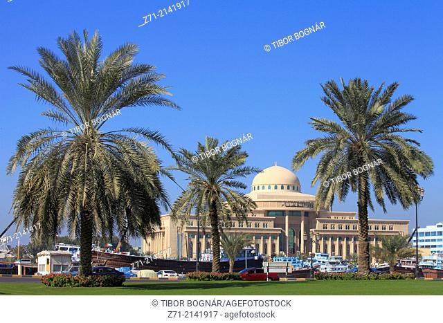 United Arab Emirates, Sharjah, Customs Building, Creek, boats, Corniche,