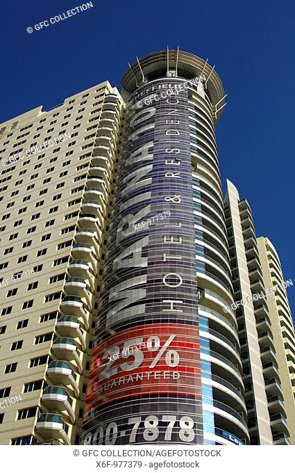 Grosvenor House Commercial Tower with publicity banner for the Marina 101 project, promising a rent income of 25 per cent of the investment over the first three...