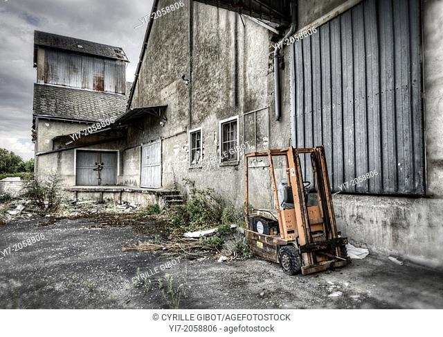 Forklift and abandoned plant, Loir et Cher, France
