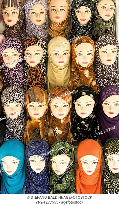 Mannequins displaying traditional Hijab headscarfs
