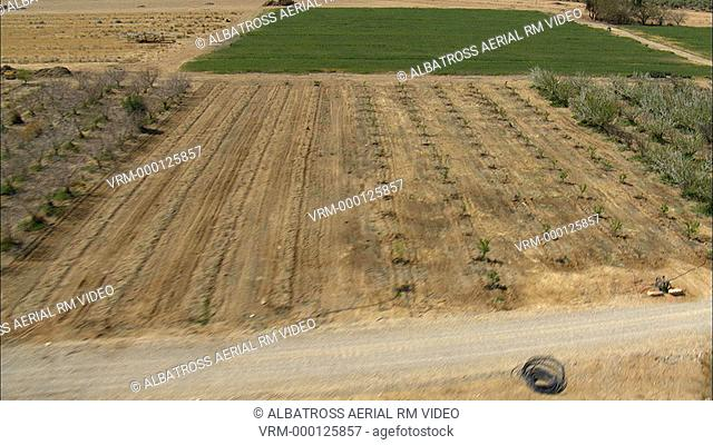 Aerial footage of the Agriculture fields of the Negev, could be olive grove