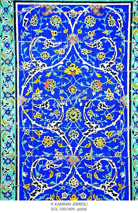 Floral painting on tiles in Golestan Palace Museum, Tehran, Iran