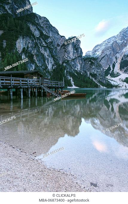 Braies, Prags, Dolomites, South Tyrol, Italy. The Lake Braies , Pragser Wildsee