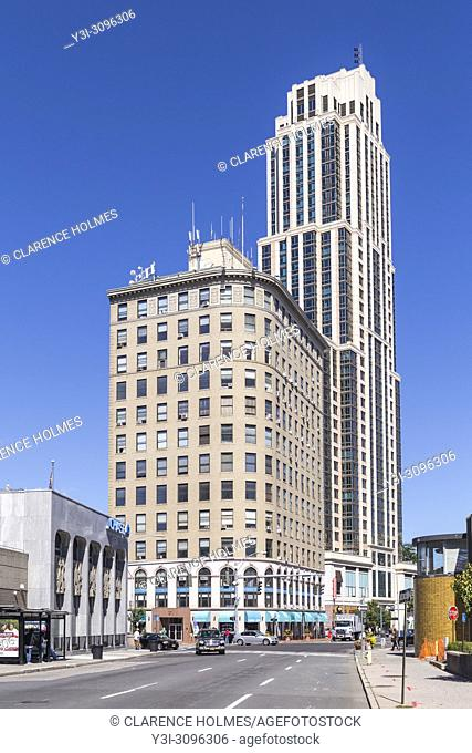 Part of the skyline including Trump Plaza New Rochelle and the Kaufman building in New Rochelle, New York