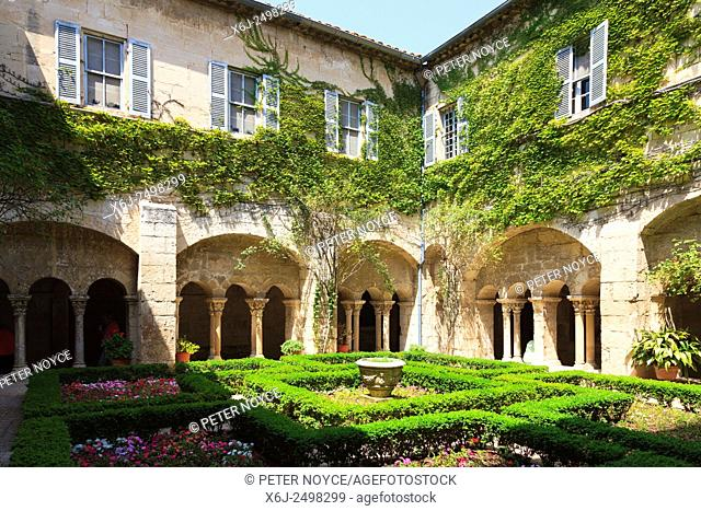 Formal garden in the centre of the cloisters at Maison de Sante Saint Paul Monastery at Saint Remy