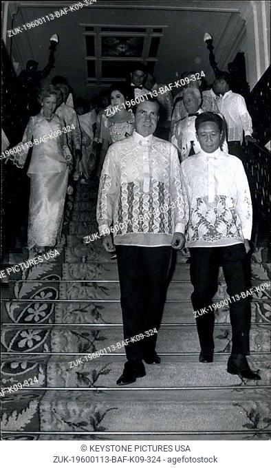 1969 - Manila Philippines; US President Richard Nixon (left) and Philippines President Ferdinand E. Marcos in Malacanang Palace, Aug. 1969