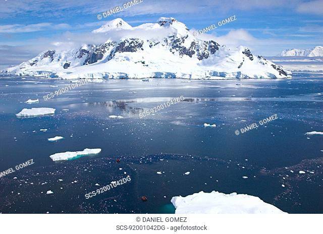 Bird's view of Paradise Bay on quiet summer day, Antarctic Peninsula RR