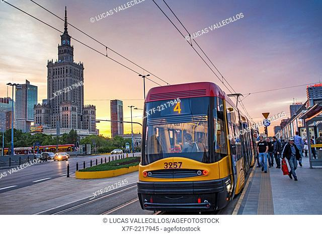 Tram, Plac Defilad square, corner of Marszalkowska street at Al.Jerozolimskie, Warsaw, Poland