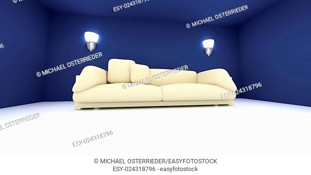 3D rendered Interior. A Sofa in a blue room