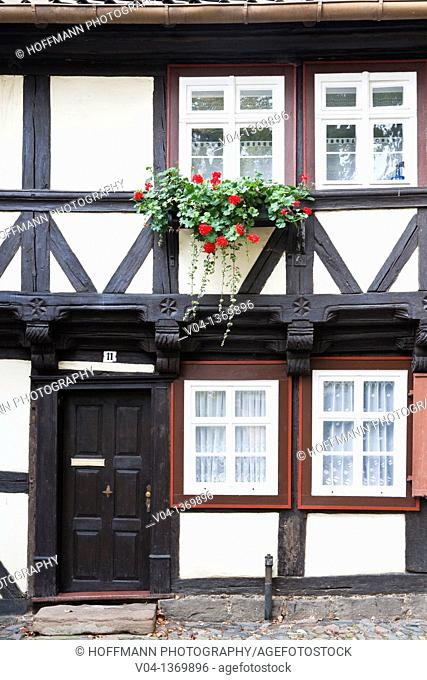 Close up of a half-timbered house in Wernigerode, Saxony-Anhalt, Germany, Europe