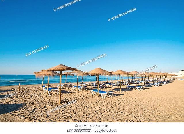Sunny early summer morning on Santa Pola beach resort, Costa Blanca, Spain