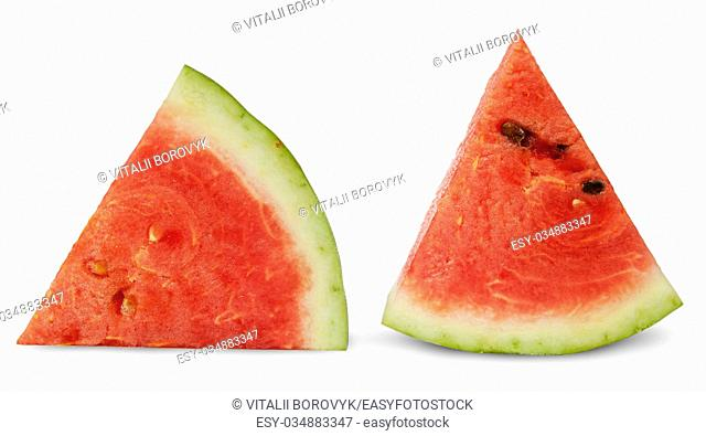 Two red ripe watermelon piece isolated on white background