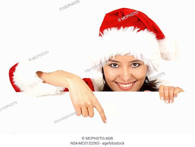 christmas girl pointing