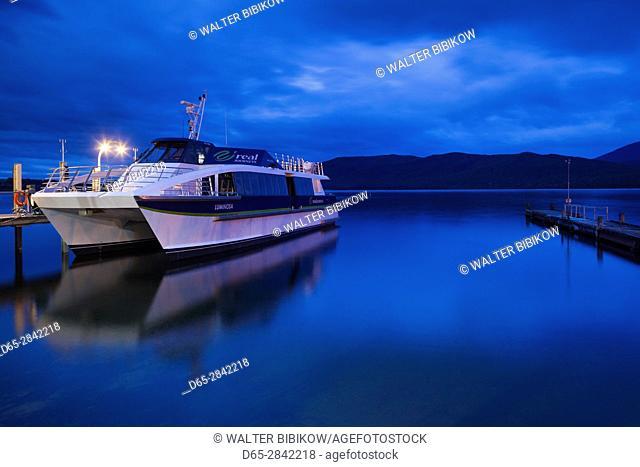 New Zealand, South Island, Southland, Te Anau, Lake Te Anau, Fjordland tour boat