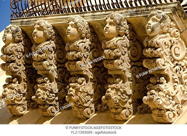 sculpted Baroque balcony supports of the Palazzo Nicolaci  Noto Sicily
