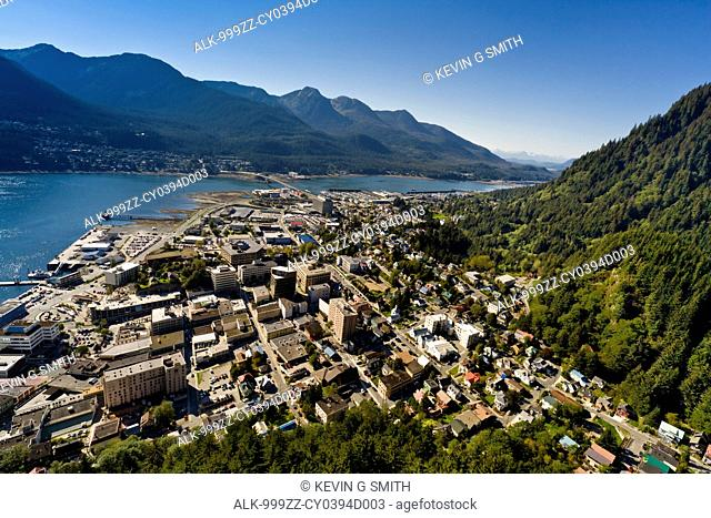 Aerial view of downtown Juneau and Lynn canal looking West, Southeast Alaska, Summer