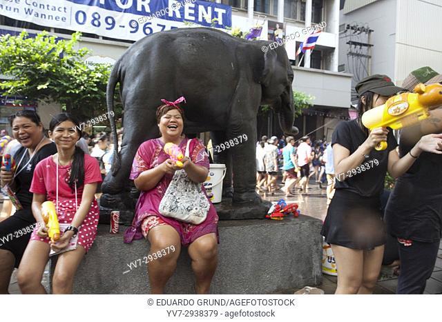 Scenes of the streets of Bangkok during the Songkran. Bangkok, Thailand, Asia