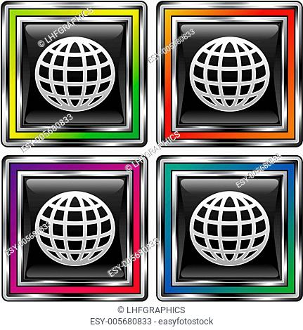 Abstract globe black box button