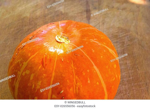 background for Halloween holiday - decorative orange pumpkin on old wooden background