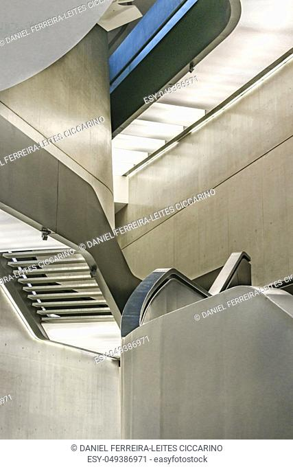 Interior view of maxxi building, a national museum of contemporary art and architecture in the Flaminio neighborhood of Rome, Italy