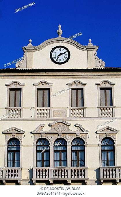 Facade of the Town Hall in Piazza Maggiore, Este, Veneto, Italy. Detail