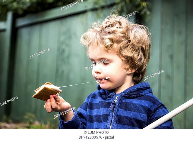 Young boy eating a s'more outdoors and getting sticky; St. Albert, Alberta, Canada