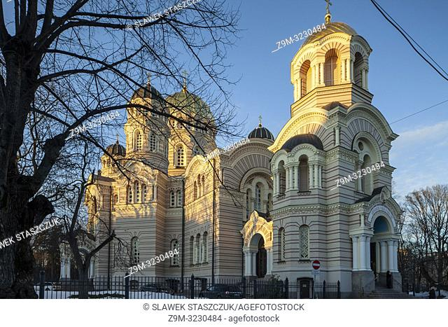 Winter afternoon at the orthodox church in Riga, Latvia