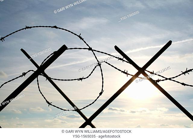 barbed wire defence barrier outdoors by sea in italy