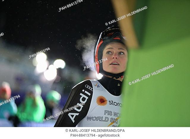German world champion Carina Vogt after completing a jump at the FIS Nordic World Ski Championships 2017 in Lahti, Finland, 24 February 2017