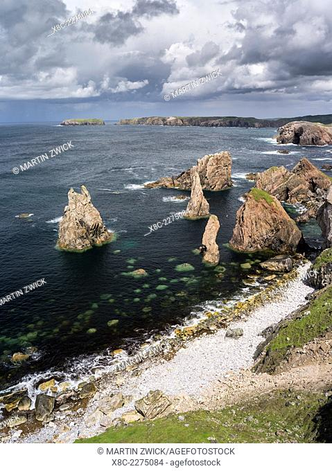 Isle of Lewis, part of the island Lewis and Harris in the Outer Hebrides of Scotland. The cliffs and sea stacks near Mangersta (Mangurstadh) in Uig