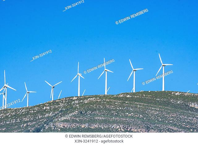 Windmills on top of Hillside, Tarifa, Cádiz, Andalusia, Spain