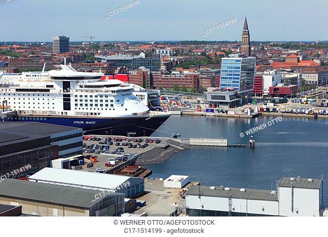 Germany, Kiel, Kiel Fjord, Baltic Sea, Schleswig-Holstein, panoramic view across the Kiel harbour to the city centre, Color Line ferry at terminal Norwegenkai