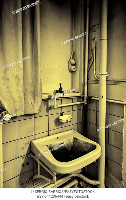 Old ceramic basin, cleaning and toilet detail