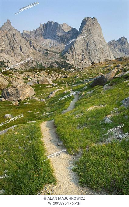 The trail overlooking the Cirque of the Towers, Popo Agie Wilderness, and rock formations of the Wind River mountain range in Wyoming
